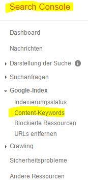 google search console content keywords